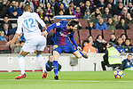 Sidnei Rechel da Silva Junior of RC Deportivo La Coruna (L) fights for the ball with Lionel Messi of FC Barcelona (R) during the La Liga 2017-18 match between FC Barcelona and Deportivo La Coruna at Camp Nou Stadium on 17 December 2017 in Barcelona, Spain. Photo by Vicens Gimenez / Power Sport Images