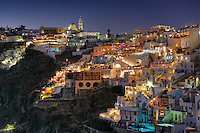 Fira by night in Santorini island, Greece