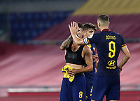 Football, Serie A: AS Roma - Hellas Verona Fc, Olympic stadium, Rome, July 15, 2020. <br /> Roma's captain Edin Dzeko (r) celebrates with his teammates  after winning 2-1 the Italian Serie A football match between Roma and Hellas Verona at Rome's Olympic stadium, on July 15, 2020. <br /> UPDATE IMAGES PRESS/Isabella Bonotto