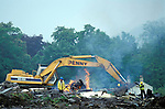 A digger clears the site on the building of the Batheaston bypass Bath,  Solsbury Hill, Avon.