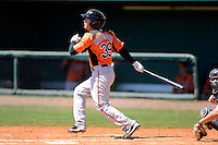 Baltimore Orioles outfielder Johnny Ruettiger (39) during a minor league Spring Training game against the Atlanta Braves at Al Lang Field on March 13, 2013 in St. Petersburg, Florida.  (Mike Janes/Four Seam Images)