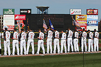 Rochester Red Wings national anthem before a game against the Scranton Wilkes-Barre Yankees at Frontier Field on April 9, 2011 in Rochester, New York.  Rochester defeated Scranton 7-6 in twelve innings.  Photo By Mike Janes/Four Seam Images