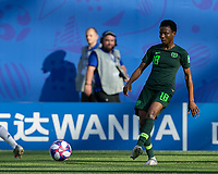 GRENOBLE, FRANCE - JUNE 22: Halimatu Ayinde #18 passes the ball during a game between Panama and Guyana at Stade des Alpes on June 22, 2019 in Grenoble, France.