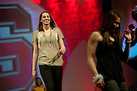 INDIANAPOLIS, IN - APRIL 1, 2011: Ashley Cimino enjoys the festivities at the Cirque du Salute at the Indianapolis Convention Center at Tourney Town during the NCAA Final Four in Indianapolis, IN on April 1, 2011.