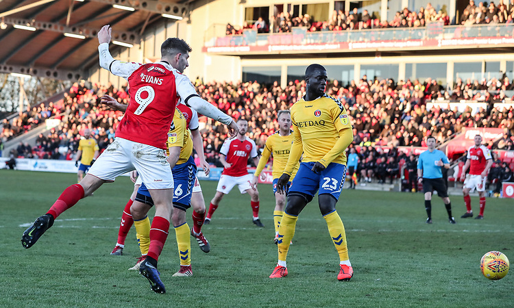 Fleetwood Town's Ched Evans heads at goal <br /> <br /> Photographer Andrew Kearns/CameraSport<br /> <br /> The EFL Sky Bet League One - Fleetwood Town v Charlton Athletic - Saturday 2nd February 2019 - Highbury Stadium - Fleetwood<br /> <br /> World Copyright © 2019 CameraSport. All rights reserved. 43 Linden Ave. Countesthorpe. Leicester. England. LE8 5PG - Tel: +44 (0) 116 277 4147 - admin@camerasport.com - www.camerasport.com
