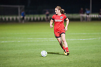 Kansas City, Mo. - Saturday April 23, 2016: Portland Thorns FC midfielder Lindsey Horan (7) during a match against FC Kansas City at Swope Soccer Village. The match ended in a 1-1 draw.