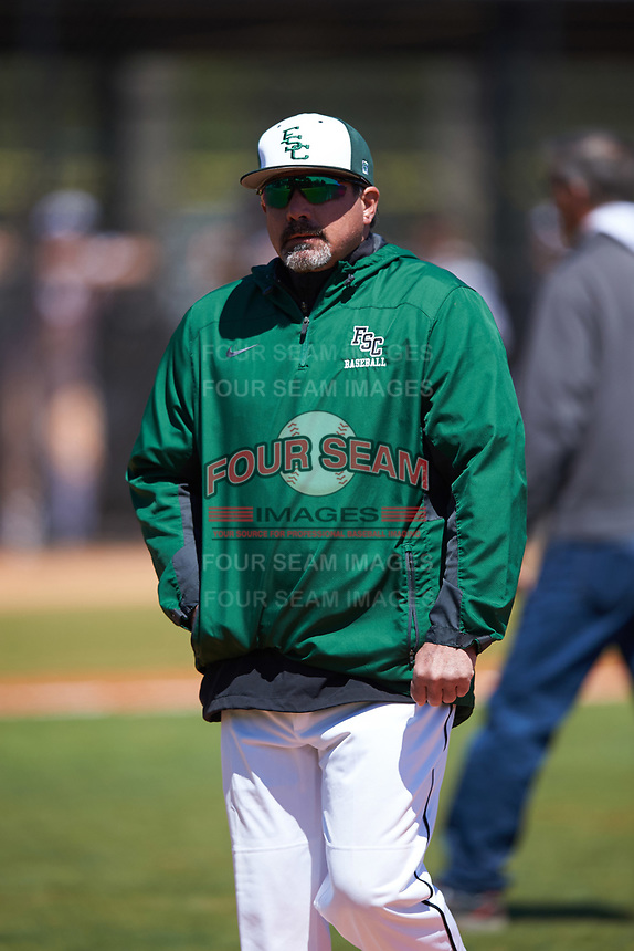 Farmingdale State Rams head coach Keith Osik walks off the field after a mound visit during the first game of a doubleheader against the FDU-Florham Devils on March 15, 2017 at Lake Myrtle Park in Auburndale, Florida.  Farmingdale defeated FDU-Florham 6-3.  (Mike Janes/Four Seam Images)