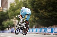 Jasper Philipsen (BEL) speeding out of a corner<br /> <br /> Junior Men TT<br /> UCI Road World Championships / Richmond 2015