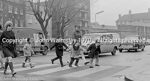 KIds learning road safety and how to cross a road, Vittoria Primary School, Islington, London.  1970.