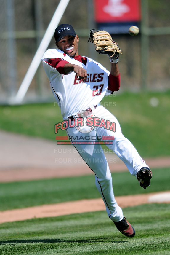Boston College Eagles infielder Gabriel Hernandez #23 prior to a game versus the Miami Hurricanes at Shea Field in Chestnut Hill, Massachusetts on April 26, 2013.  (Ken Babbitt/Four Seam Images)
