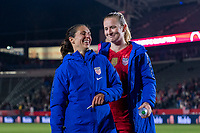 CARSON, CA - FEBRUARY 7: Carli Lloyd #10 and Sam Mewis #3 of the United States celebrate during a game between Mexico and USWNT at Dignity Health Sports Park on February 7, 2020 in Carson, California.