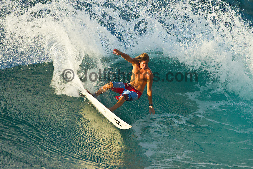 Haleiwa Hawaii, (Tuesday November 23, 2010) Granger Larson (HAW).  .Three to five foot west nor west swell with light variable winds were the conditions for today's sessions at Off The Wall and Backdoor..Photo: joliphotos.com