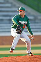 Starting pitcher Bryan Radziewski #28 of the Miami Hurricanes in action against the Wake Forest Demon Deacons at Gene Hooks Field on March 18, 2011 in Winston-Salem, North Carolina.  Photo by Brian Westerholt / Four Seam Images