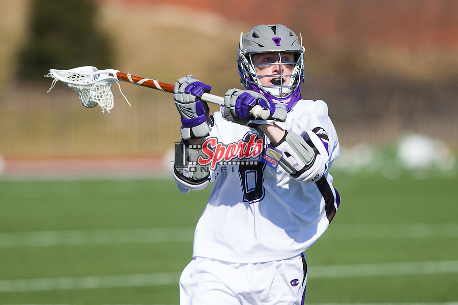 Matt Thistle (8) of the High Point Panthers controls the ball against the St. Joseph's Hawks at Vert Track, Soccer & Lacrosse Stadium on February 16, 2014 in High Point, North Carolina.  The Panthers defeated the Hawks 9-7.   (Brian Westerholt/Sports On Film)