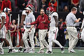 January 8th 2018, Atlanta, GA, USA; Alabama Crimson Tide head coach Nick Saban talks with Alabama Crimson Tide defensive back Tony Brown (2) after a play during the College Football Playoff National Championship Game between the Alabama Crimson Tide and the Georgia Bulldogs on January 8, 2018 at Mercedes-Benz Stadium in Atlanta, GA.