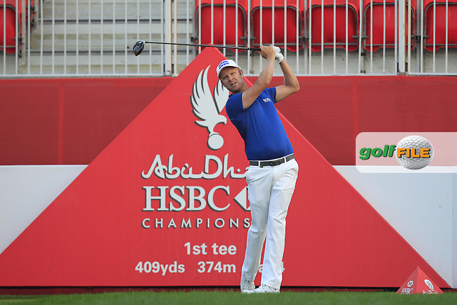 Mikko Ilonen (FIN) on the 1st tee during Round 1 of the Abu Dhabi HSBC Championship on Thursday 19th January 2017.<br /> Picture:  Thos Caffrey / Golffile<br /> <br /> All photo usage must carry mandatory copyright credit     (&copy; Golffile | Thos Caffrey)