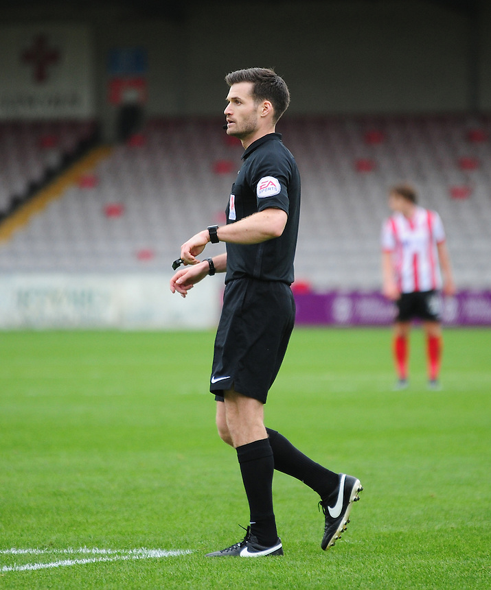 Referee Anthony Serrano<br /> <br /> Photographer Andrew Vaughan/CameraSport<br /> <br /> Vanarama National League - Lincoln City v Barrow - Saturday 17 September 2016 - Sincil Bank - Lincoln<br /> <br /> World Copyright &copy; 2016 CameraSport. All rights reserved. 43 Linden Ave. Countesthorpe. Leicester. England. LE8 5PG - Tel: +44 (0) 116 277 4147 - admin@camerasport.com - www.camerasport.com
