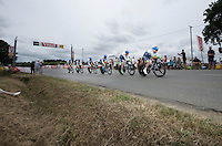 All 6 remaining riders of the formidable TTT squad Team Orica-GreenEDGE stayed together during the stage as they simply tried to reach the finish in time. <br /> They managed exactly that and finished as 22nd (and last) team.<br /> <br /> stage 9: TTT Vannes - Plumelec (28km)<br /> 2015 Tour de France