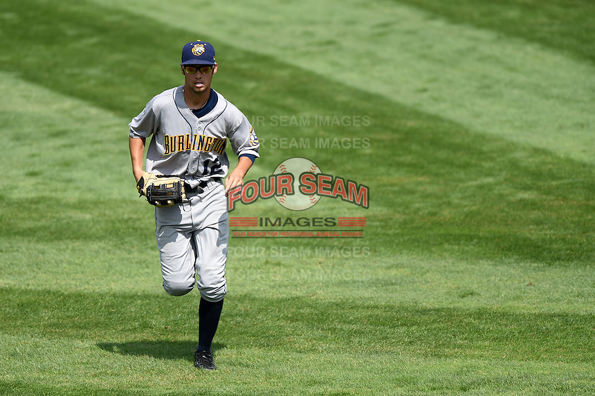 Burlington Bees outfielder Bo Way (12) jogs to the dugout during a game against the Kane County Cougars on August 20, 2014 at Third Bank Ballpark in Geneva, Illinois.  Kane County defeated Burlington 7-3.  (Mike Janes/Four Seam Images)