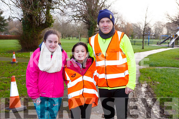 The Lynch family from Tralee getting ready for the Tralee Parkrun on New Years Day in the Tralee town park, l-r,  Anna, Ruth and Colm Lynch.