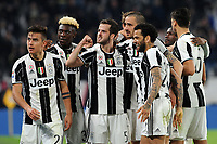 Calcio, Serie A: Juventus vs Milan. Torino, Juventus Stadium, 10 marzo 2017.<br /> Juventus&rsquo; Paulo Dybala, left, celebrates with his teammates after scoring on a penalty kick the winning goal during the Italian Serie A football match between Juventus and AC Milan at Turin's Juventus Stadium, 10 March 2017. Juventus won 2-1.<br /> UPDATE IMAGES PRESS/Manuela Viganti