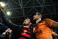 Jeronimo De La Fuente poses for a selfie with fans after the Super Rugby match between the Highlanders and Jaguares at Forsyth Barr Stadium in Dunedin, New Zealand on Saturday, 11 May 2019. Photo: Dave Lintott / lintottphoto.co.nz