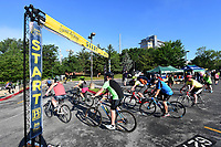 NWA Democrat-Gazette/J.T. WAMPLER Cyclists begin at the Walton Arts Center parking lot Saturday May 13, 2017 during the Square 2 Square Bike Ride. Several hundred riders participated in the 30-mile ride from downtown Fayetteville to downtown Bentonville along the Razorback Regional Greenway trail that connects the major towns in Northwest Arkansas.