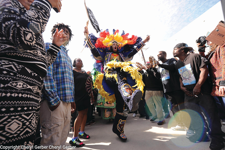 Spyboy Alphonse Feliciana of the Golden Blades at the funeral for Wild Magnolias Big Chief Bo Dollis, 2015