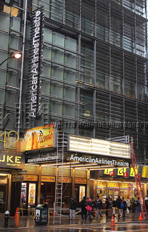 Theatre Marquee installation for 'Picnic'. The Roundabout Theatre Company Production starring Ellen Burstyn, Sebastian Stan & Maggie Grace at the American Airlines Theatre in New York City on December 7, 2012