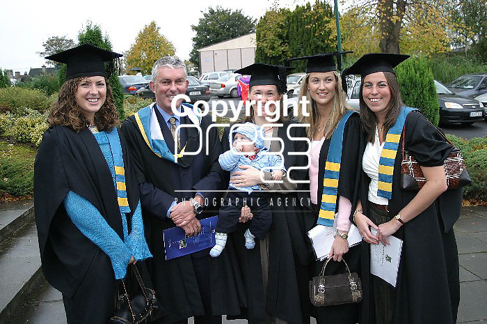 Aoife O'Donnell frpm Tralee, Mary Holland Course CoOrdinator, Edel McMahon and Baby Tadgh, Jessica Daly Cork and Nessa Ryan Cork, who graduated with a Degree of Bachelor in Education at Mary Immaculate College Limerick,.Picture:Press 22