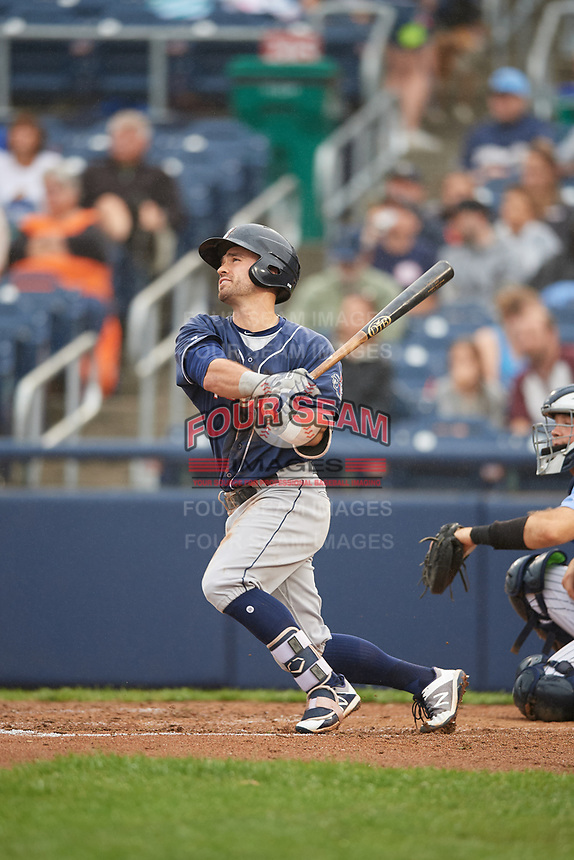 New Hampshire Fisher Cats designated hitter Jon Berti (11) hits a home run during a game against the Trenton Thunder on August 19, 2018 at ARM & HAMMER Park in Trenton, New Jersey.  New Hampshire defeated Trenton 12-1.  (Mike Janes/Four Seam Images)