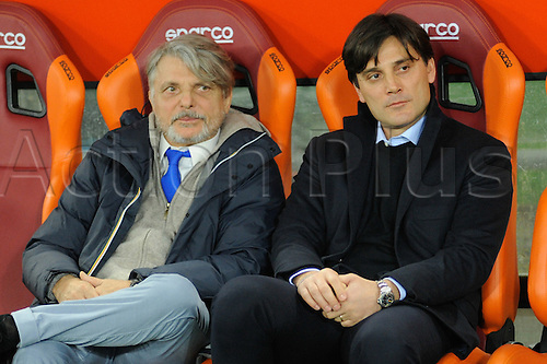 07.02.2016. Stadium Olimpico, Rome, Italy.  Serie A football league. AS Roma versus Sampdoria. MONTELLA VINCENZO WITH FERRERO PRESIDENT OF SAMPDORIA