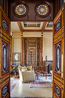 The opulent 19th century apartment  exudes sensuality, fantasy and passion. In the main sitting room, monumental doors and some Ottoman-style colonnades adorn the same room where 18th century Ottoman panels are made of wood and inlaid with ivory and mother-of-pearl.