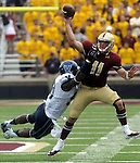 (Boston Ma, 083131) Boston College  quarterback Chase Rettig, gets of a pass with Villanova 99, Brian Mihalik, all over him in the second half,  BC won the game 24-14, Saturday at Alumni Stadium.   (Jim Michaud Photo) for Sunday
