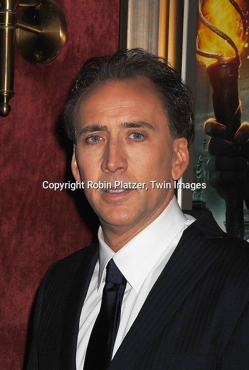 """Nicolas Cage.arriving to The World Premiere of """"National Treasure: Book of Secrets"""" on December 13, 2007 at The Ziegfeld Theatre. .Robin Platzer, Twin Images"""