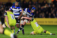 Alex Humfrey of Bath Rugby takes on the Leicester Tigers defence. Anglo-Welsh Cup match, between Bath Rugby and Leicester Tigers on November 4, 2016 at the Recreation Ground in Bath, England. Photo by: Patrick Khachfe / Onside Images
