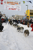 Saturday March 6 , 2010   Jeff King leaves the start line on his skis during the ceremonial start of the 2010 Iditarod in Anchorage , Alaska