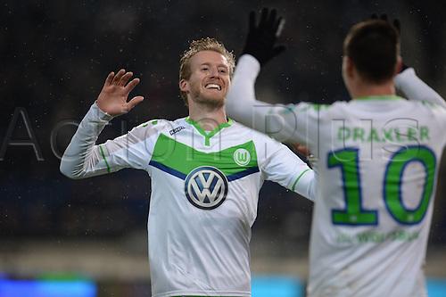 01.03.2016. Hannover, Germany. Bundesliga Football Hannover 96 versus VfL Wolfsburg.   Scorer for 0:4 Julian Draxler (VFL Wolfsburg) with Andre Schurrle