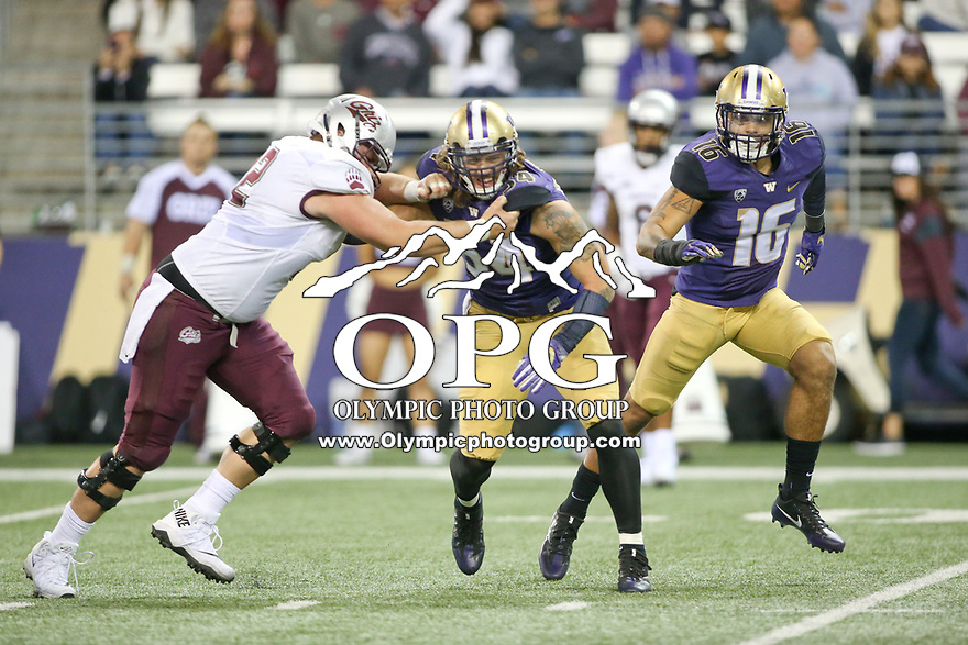 SEATTLE, WA - SEPTEMBER 9:  Washington's Matt Preston during the game between the Washington Huskies and the Montana Grizzlies on September 09, 2017 at Husky Stadium in Seattle, WA. Washington won 63-7 over Montana.
