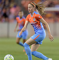 Janine Beckie (11) of the Houston Dash chases down a loose ball in the first half against the Chicago Red Stars on Saturday, April 16, 2016 at BBVA Compass Stadium in Houston Texas.