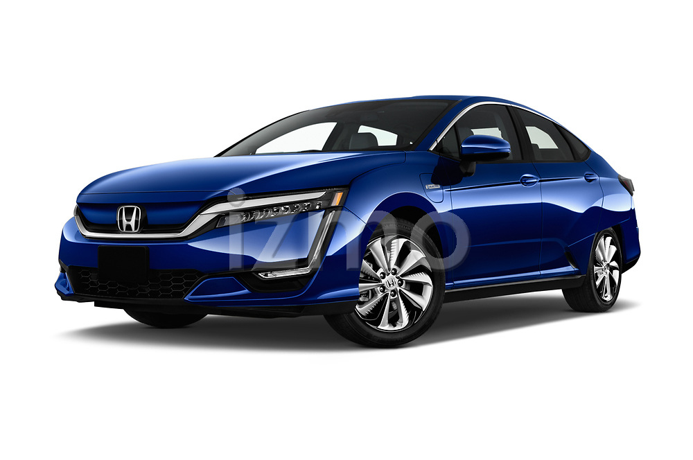 Stock pictures of low aggressive front three quarter view of a 2017 Honda Clarity Electric 5 Door Hatchback
