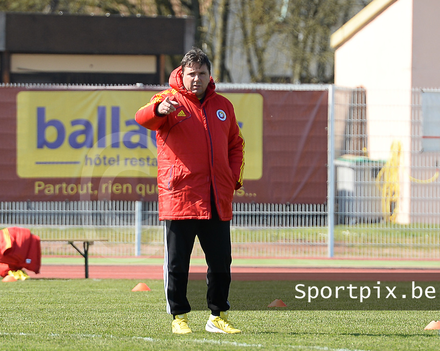 20150406 - OZOIR , FRANCE  : Romanian coach Florin Bugar pictured during the soccer match between Women Under 19 teams of France and Romania , on the second matchday in group 3 of the UEFA Elite Round Women Under 19 at Stade des 3 Sapins , Ozoir La Ferriere , France . Monday 6th April 2015 . PHOTO DAVID CATRY