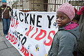 Demonstration organised by London Coalition against Poverty to protest at conditions in Alexandra Court, a hostel used by Hackney Council as temporary accommodation for homeless families.