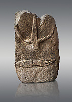Late European Neolithic prehistoric Menhir standing stone with carvings on its face side. The representation of a stylalised male figure starts at the top with a long nose from which 2 eyebrows arch around the top of the stone. below this is a carving of a falling figure with head at the bottom and 2 curved arms encircling a body above. at the bottom is a carving of a dagger running horizontally across the menhir. Excavated from S'Arretzraxiu, Laconi. Menhir Museum, Museo della Statuaria Prehistorica in Sardegna, Museum of Prehoistoric Sardinian Statues, Palazzo Aymerich, Laconi, Sardinia, Italy. Grey background.