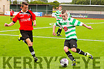 in Action Celtic's Eoghan Kennedy and park's Donagh O'Brien at the  Denny Youths Final Killarney Celtic v Park FC at Mounthawk Park on Sunday
