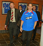 Frank de Boer arrives at Murray Park with Alex Mcleish to sign for Rangers