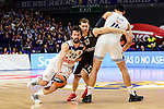 Real Madrid's Sergio Llull and Gustavo Ayon and Brose Bamberg's Janis Strelnieks during Turkish Airlines Euroleague between Real Madrid and Brose Bamberg at Wizink Center in Madrid, Spain. December 20, 2016. (ALTERPHOTOS/BorjaB.Hojas)
