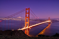 San Francisco's Golden Gate Bridge at twilight.