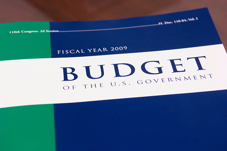 WASHINGTON, DC - Feb 04: President Bush's fiscal 2009 budget request during a photo op in the House Budget Committee office. The $3.1 trillion fiscal 2009 budget proposal, released today, represents Bush's last chance to put his imprint of the nation's fiscal landscape. But with Democrats controlling Congress and hoping to win the presidency in November, Bush's budget has little chance of being enacted. (Photo by Scott J. Ferrell/Congressional Quarterly)