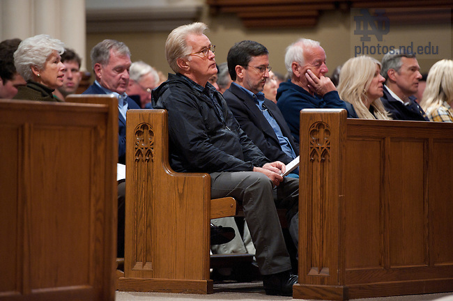 September 17, 2011; Actor Martin Sheen listens to Archbishop Timothy Dolan's (not pictured) sermon during mass in the Basilica of the Sacred Heart. Photo by Barbara Johnston/University of Notre Dame